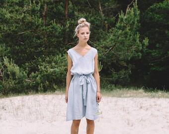 Summer linen dress/ V neck linen dress / Summer dress / Linen dress / Linen sundress/ Maxi dress/ Swing dress/ Linen tunic/ #30V DORI