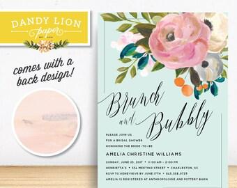 Mint Brunch & Bubbly Floral Citrus Bridal Shower Brunch Invitation - DIY Printable