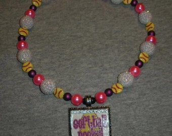 Softball Rocks Pendant on Team Spirit Beads