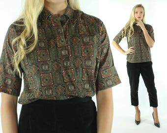 1950s Short Sleeve Blouse Printed Cotton Top Button Up Shirt Vintage 50s Large L Pinup Rockabilly Lady Pilgrim