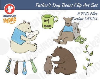 Father's Day Bears Clip Art Set