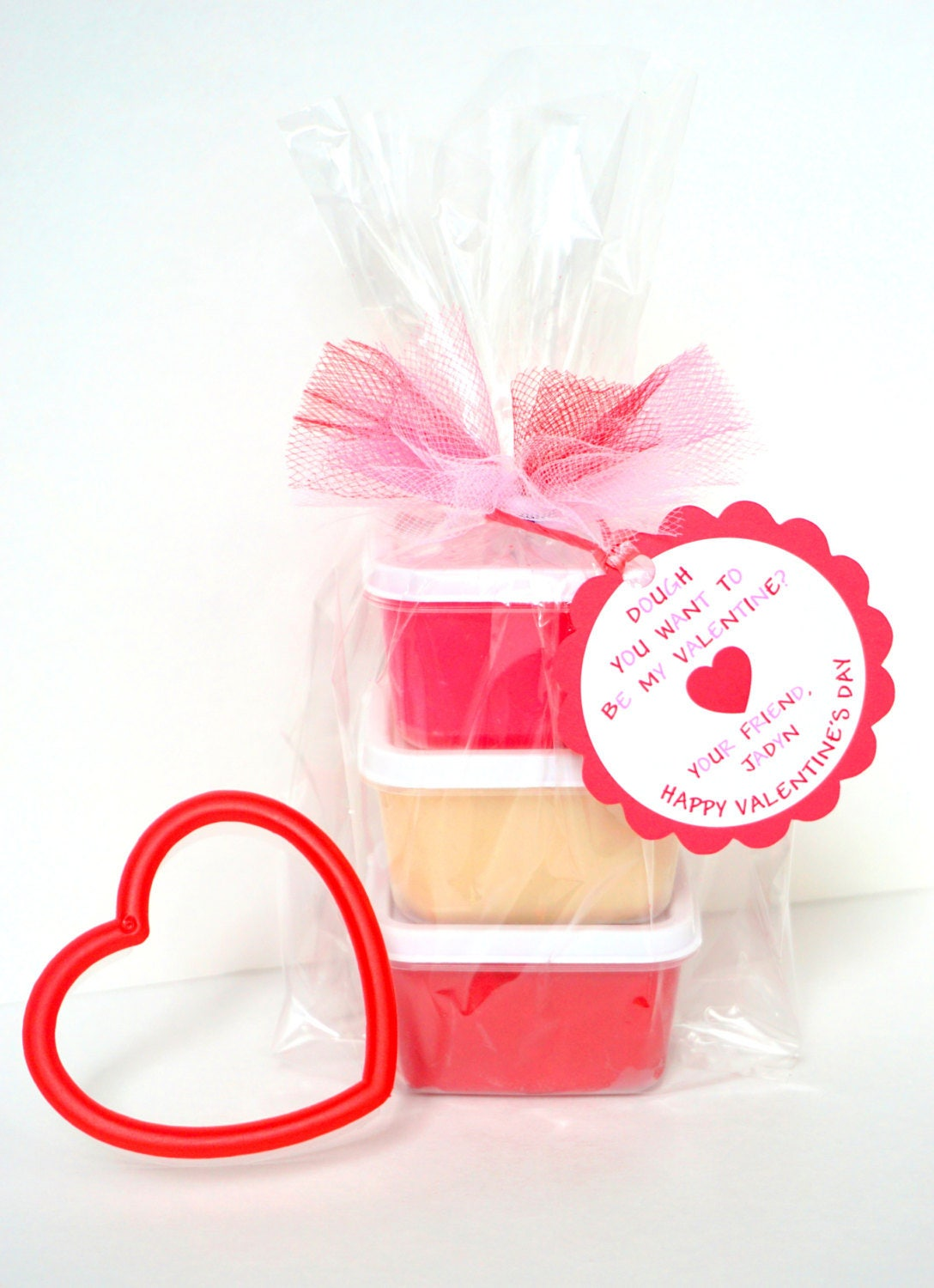 Valentine\'s Day Play Dough with Heart Cookie Cutter