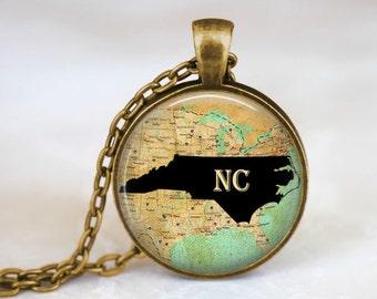 North Carolina State Necklace - North Carolina Jewelry. North Carolina Art Pendant. State Necklace. State Jewelry. Custom State Necklace
