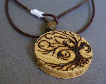 Pendant necklace wooden ash tree of Life, Celtic, Pirografo, engraving