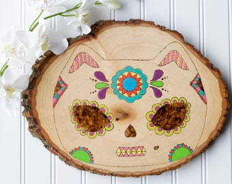 Cat Day of the Dead Sugar Skull Wood Decor Sign
