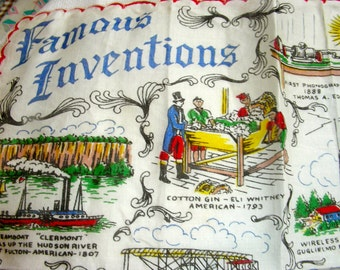 Vintage Historical Novelty Handkerchief Hanky Hankie // FAMOUS INVENTIONS