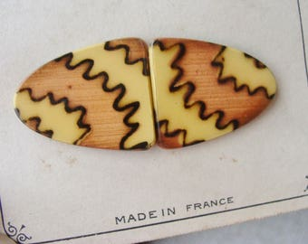 Antique Made in France Celluloid and Metal Buckle on Original Card