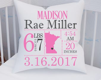 Personalized baby pillow etsy ca minnesota birth announcement pillowbirth announcement pillowbirth placehometownbaby gift negle Choice Image