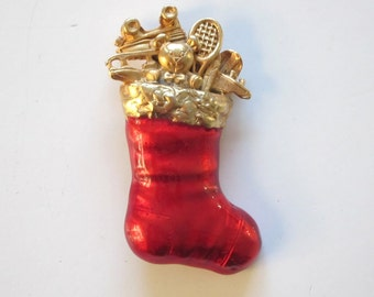 Vtg 70s Fabulous Christmas Sock Pin