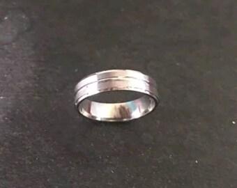 14k White Gold Layer On Sterling Silver Wedding Matt Design Men ring Band 5mm S5.75