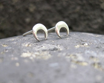 Small Crescent Moon Post Earrings