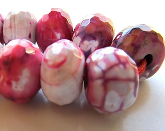 Agate Beads 14 x 10mm Mutli Red, Pink & Rose Faceted Dusted w/ White Fire Agate Rondelles - (Last 4 Pieces)