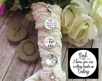 Bridal Bouquet Charm, Personalized Photo Pendant, Dad I Know You are Walking Beside Me Today, Memorial Charm, Bouquet Photo Charm