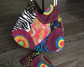 Vegan reversible colourfull bag, wear the colour or black with a hint of rebellion! You chooce. Manadala circle bag tasche bolson 4 girls
