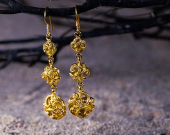 Ombak Segara Gold Plated Drop Earrings / 925 Sterling Silver / Gold Plated / 2.4 inch drop length / Sea Waves Ornamentation
