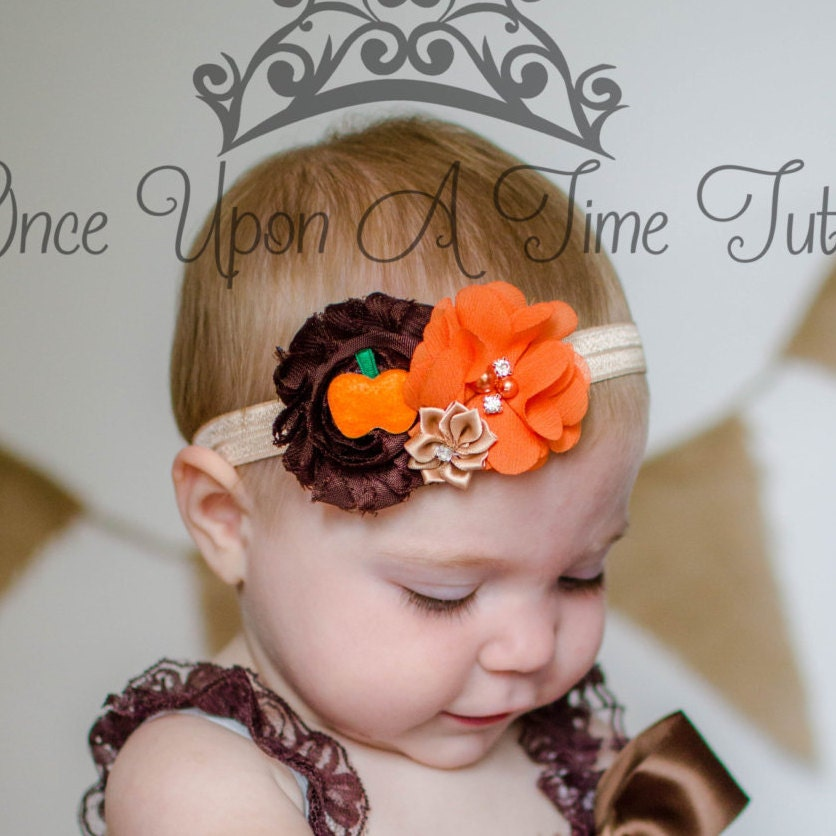 Natural Halloween Decorations: Autumn Pumpkin Shabby Sparkle Headband Natural Halloween