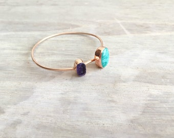 Rose Gold Bangles with Raw Flourite and Amazonite Stones
