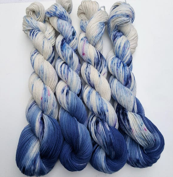 Blueberry Cobbler- 100 Cotton, Hand Dyed, Speckled Yarn