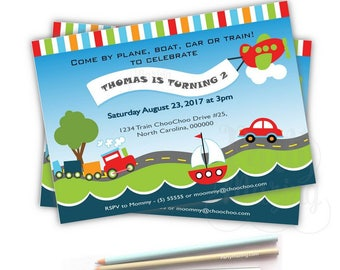 Printable Transportation Invitation, Transportation Invitation, Birthday Invite,   Event Invite-D074