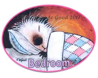 Guinea Pig art bedroom door sign cavy Himalayan laminated sign self-adhesive from original painting by Suzanne Le Good