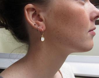 White Earrings - Reversible Enamel and Vermeil Earrings in Aquamarine and White