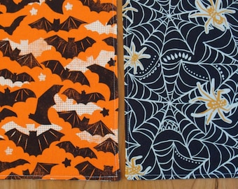 Halloween Placemats (2) with Bats, Spiders and Spiderwebs in Orange and Black, Halloween Decor, Reversible Cotton, Maude Asbury Spooktacular