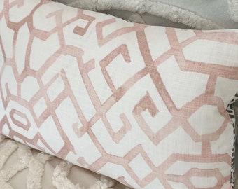 Pink and grey lumbar pillow cover, lumbar cushion, blush cushion, pink and grey pillow, Hamptoms decor, scandi boho, small pink cushion