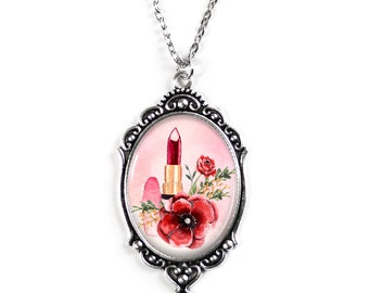 "Lipstick and Pink Poppies Silver 30X40mm Cameo Filigree Necklace with 18"" Chain"