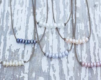 bohemian pearl necklace / handspun ROPE / waterproof / kid-proof / life-proof / bohemian / minimalist beauty / tula blue
