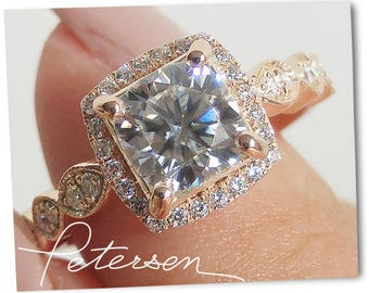 1.5 ct. Art Deco Engagement Ring - Art Deco Ring Vintage Inspired Ring - Promise Ring - Antique Style Cushion Cut Ring - Milgrain - gold cz