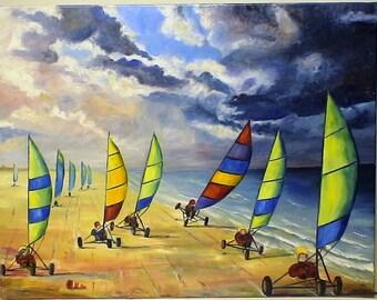 "ORIGINAL abstract art 50 X 65 ""tanks for sail"""