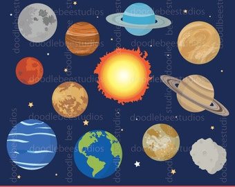 Planets Clipart, Outer Space Clipart, Solar System Clip Art, Planets Digital Download, Outer Space Instant Download