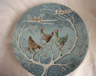 Haviland Limoges Plate Twelve Days of Christmas 1972 Three French Hens Made in France
