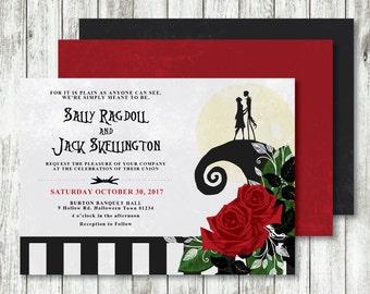 Nightmare Before Christmas 'Moonlight Serenade' *Printable Wedding Invitation* Tim Burton Wedding // Save The Date // Skellington // CUSTOM
