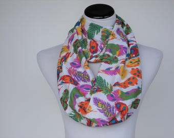 Feather print Scarf Purple Green Orange Yellow Infinity Scarf Autumn Colors Scarf jersey knit Scarf Bohemian Scarf Loop Scarf Circle Scarf