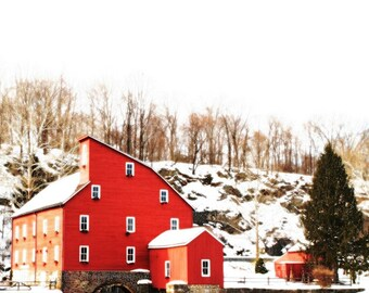 The red mill - Snow on the red mill nursery decor White Christmas First snow Nature Winter old farm house beauty Fine Art Print 12x12
