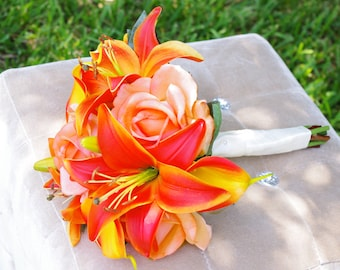 Orange Tropical or Fall Wedding Bouquet - Lilies, Callas and Roses Silk Wedding Bouquet  - Orange Touch Bride Bouquet
