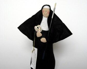 """Novelty Nun doll, artistic sister, gift for artist, woman art teacher holding paint brush, Catholic humor gift, """"Sister Joan of Art"""""""