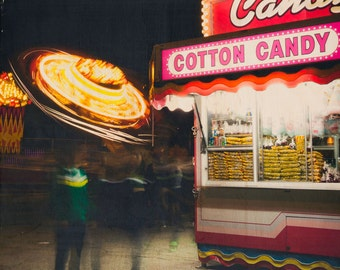 Carnival Photography, 'Cotton Candy' Limited Edition Image Transfer on Wood Panel by Patrick Lajoie, fair night, food, kids decor