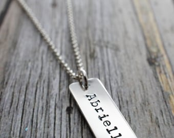 Personalized Baby Name Necklace - ONE Handstamped Name Charm in Sterling Silver - Rectangular Bar Necklace for Mom or Grandma