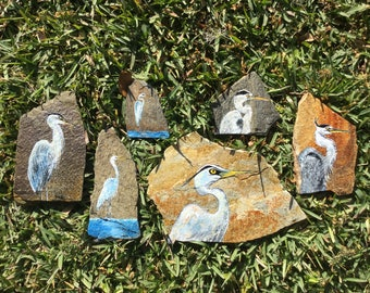 Great Egret - Hand painted Great Egret on Stone, painting on stone, egret painting, slate stone, stone painting, free display stand