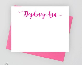 Personalized stationery set,  personalized stationary set,  personalized note card set, flat note card, calligraphy stationery