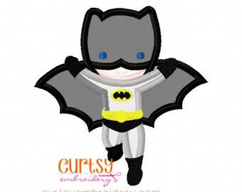 Bat Boy Embroidery Design, Batboy Applique Design, Super Hero Embroidery Design
