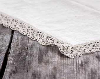 "Linen tablecloth 45"" x 63'' with grey linen lace trim, vintage, rustic, weddings, table decoration, flax, hotel, kitchen, celebration"