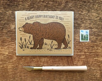 A Beary Happy Birthday to You, Grizzly Bear Birthday Card, Letterpress Birthday Card, Letterpress Folded Card, Blank Inside