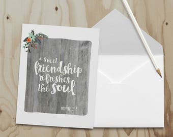 Sweet Friendship Note Card - Proverbs 27:9