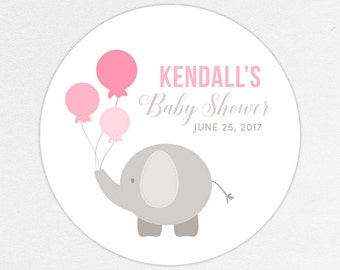 Elephant Favor Tag, Elephant Favor Label, Baby Shower Favor Tag, Baby Shower Favor Label, Elephant Shower, Balloon, Pink, Little Peanut