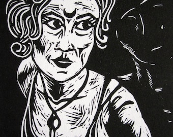 Witch of Endor: Selfie with Sam Linocut Block Print FREE SHIPPING Seeress Medium Art Deco Divination Witchcraft