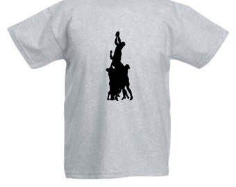 Kids Rugby Player T-Shirt / Childrens Rugby Line Out T Shirt in Grey, Black, Blue, Pink, Yellow / Ages: 3-4, 5-6, 7-8, 9-11, 12-13