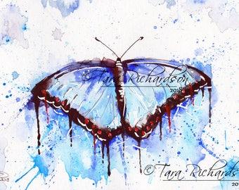 Spring Rain Art Print butterfly Watercolour